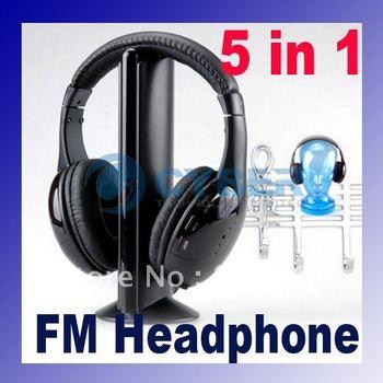 Wireless Monitor FM radio for MP4 PC TV Audio, 5 in 1 HIFI Wireless Headphone Earphone Headset Free Shipping 086