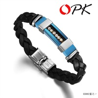 OPK JEWELRY LEATHER and STAINLESS STEEL BRACELET inlaid crySTAL cow leather bangle free shipping 882