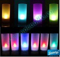 Free shipping wholesale 15pcs 7 colors change LED candle night light