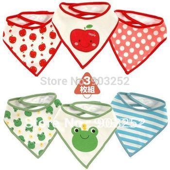 60 Pieces/lot-9 designs Baby Bibs/Baby Waterproof Bibs/Animal prints Cotton Bibs/Strawberry  Frog stars