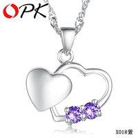 OPK JEWELRY Free Shipping 925 silver pendant 18K white gold GP heart crystal pendant retail 1PCS MOQ hot selling 018