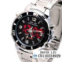 Free shipping Men's Fashion High-end Chronograph Watch Waterproof Japanes Quartz Moment led watch +Box