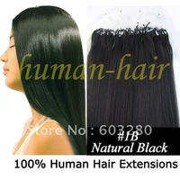 INDIAN human hair micro rings/links/loops hair extension 41cm/46cm/51cm/56cm/61cm 40g/50g/60g/70gram #1B Off black 100pieces