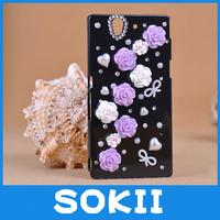 In Stock !3D ROse flower bling diamond case crystal hard back cover for Sony Xperia Z L36H Bling Case
