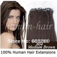 Indian human hair micro links/rings hair extension 41cm/46cm/51cm/56cm/61cm 0.4g/0.5g/0.6g/0.7g *100pieces/LOT #04 Medium brown