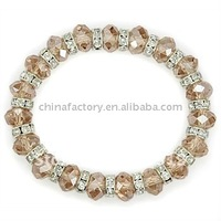 fashion stretch one row opal white faced crystals glass beaded bracelet with spacer