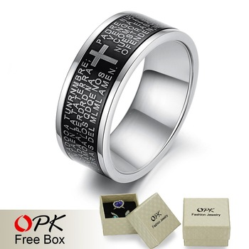 OPK JEWELRY religious cool men ring The bible cross finger rings carved scriptures and cross mark free shipping 279