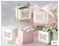 Free Shipping Laser butterfly Wedding favors Packaging boxes wedding gift box candy bags 200pcs/lot