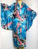 Free Shipping Japanese Women's Silk Rayon Kimono Flowers New Light Blue Dress Wholesale and retail