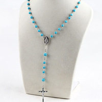Classic Design 6mm Round Blue Turquoise Rosary Necklace Women with Cross Pendant