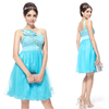 HE03289BL Free Shipping One Shoulder Flower Blue Ruffles Rhinestone Cocktail Dress