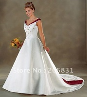 Free Shipping !Exquisite Knot Mermaid Strapless Ball gown Satin Open back Paillette / Sequins Sweep/Brush Wedding dresses gown