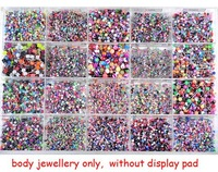 Free Shipping Wholesale Bulk 105pcs lots Body Piercing Eyebrow Jewellery Belly Tongue Bar Ring [ba01-ba21 M*105]