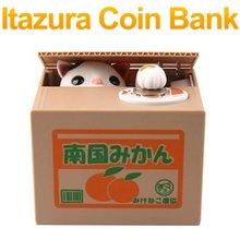 Free Shipping Itazura Coin Bank Cat Steal Coin Piggy Bank,Kitty Saving Money Box,Money Bank, Kids Gift Novelty Toys FSWOB(China (Mainland))