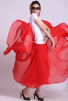 Free shipping 2012 new women's  high quality chiffon red color skirt  with full  lining  S2001