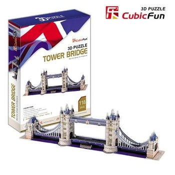 Freeshipping! London Tower Bridge,Cubic Fun 3D Jigsaw Puzzle,3D paper model,DIY puzzle,Best Educational toysfor kids C702H