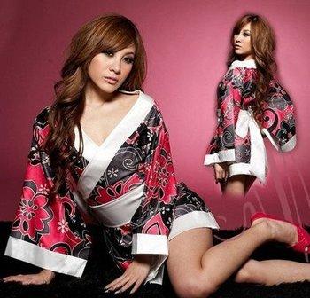 Sexy Japanese traditional flower kimono Lingerie Nightclub performance dress (kimono+belt+T/G-string) A-007