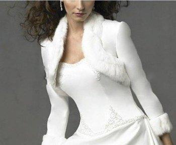 Fur edge satin bridal bolero wedding dress jacket wedding wrap scarf wedding gown shawls free shipping