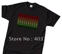 Black 100% cotton sound activated EL flashing T-shirt