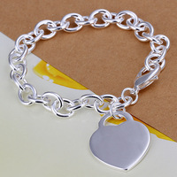 Wholsale, 925 Sterling Silver fashion jewelry HEART BRACELET FASHION bangle free shipping,Penoyjewelry B39