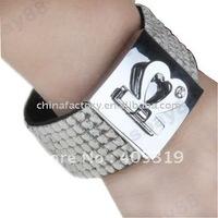 fashion 7lines square rhinestone  leather bracelet