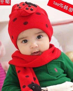 Sunshine Store #2C2503 10 set/lot (4 COLORS)  Baby hat ladybug hat and scarf set ladybird DR.CAP HATS  Beetle set CPAM