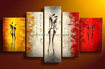 hand-painted wall art picture The Couple dance High Q. Wall Decor Landscape Oil Painting on canvas 5pcs/set mixorde wood  Framed
