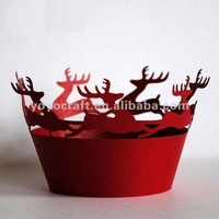 """hot sell """"reindeer"""" paper decoration reasonable price individual design Christmas cupcake wrappers"""