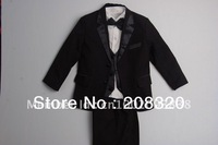 NEW BLACK TUXEDO BOY'S FORMAL SUIT size 2 4 6 8 10 12 Free Shipped