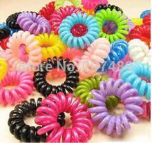 diameter 3cm Wholesale Retail New Colorful Korea Rope Elastic Girl's Rubber Hair Ties Bands Headband Phone Strap Hair Band(China (Mainland))