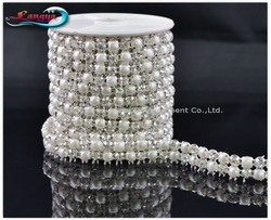 LY11929, NEW ARRIVAL! Rhinestone mesh chain,sew on 5mm pearl and crystal beads in claw,MOQ:1 roll, rhinestone trim Free shipping(Hong Kong)
