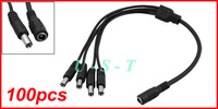 DC 1 to 4 Power Splitter Adapter Cable for CCTV Camera 5.5x2.1mm 1 female 4 male 100pcs Wholesale Lot Express free shipping