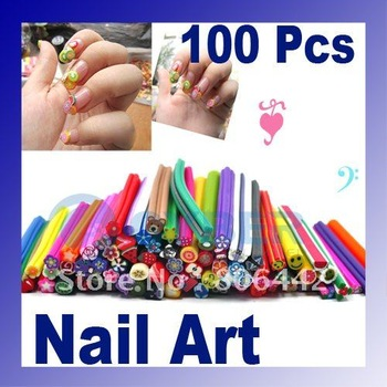 100pcs canes polymer clay nail art Stickers cane fruit and flower Cutted