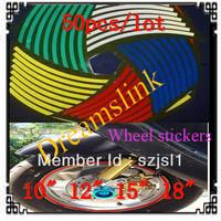 "hot sale 50set/lot New Reflective Rim Stripe Wheel Sticker / Decal Tape FOR AUTO CAR / MOTORCYCLE Vinyl 5 COLORS 10"" 12"" 15"" 18"""