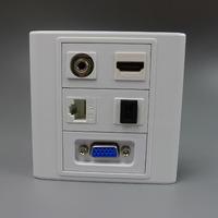 Customer design vga, hdmi, SC fiber, 3.5mm audio, rj45 wall plate