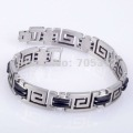 Free Shipping Men&#39;s Link Bracelet Stylish Stainless Steel Jewellery 13mm Greek Key Rubber 316L Stainless Steel Bracelet Bangle