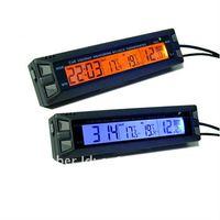 1pc Auto voltmeter battery voltage meter thermometer clock Digital Display blue backlight car 12v