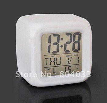 10pcs Digital 3 in 1 Glowing LCD Calendar Change 7 Color electronic Alarm Clock and Week Calendar Temperature