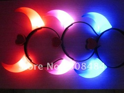 free shipping 30pcs/lot 20*19cm led flashing devil horn headband for Christmas(China (Mainland))