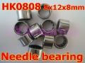 Lot of 100 HK0808 Shell Type Drawn Cup Needle Bearing 8x12x8mm 37941/8 Bearings