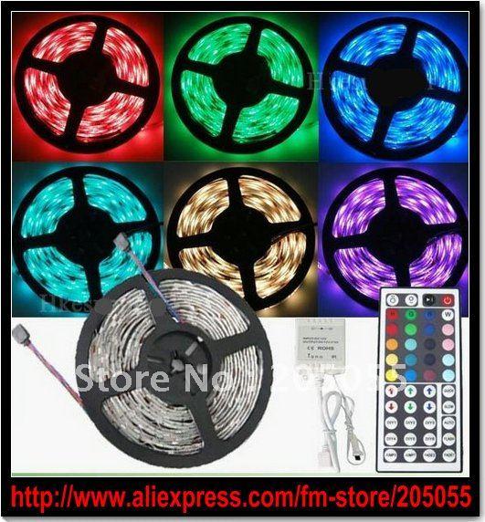 5M Flexible RGB LED Light Strip 16ft 5050 SMD 500cm 300LED 60leds/Meter WATERPROOF+44 Key IR REMOTE Controller+DC plug connector(China (Mainland))