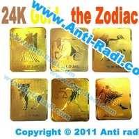 Hotsale 24K gold plating Anti Radiation Twelve Constellations sticker for Mobile Phone, can drop shiping+free shiping