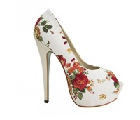 Free Shipping 2014 New fashion high heels Sexy shoes women's high heel with flowers High quality CC135