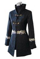 Black Chinese Women's Cotton Long Jacket Embroider Coat Flowers Size S M L XL XXL XXXL 4XL 2255-2