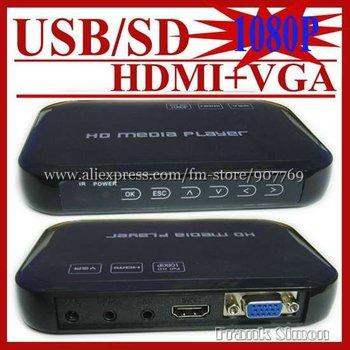 New Arrival USB Full HD 1080P HDD Media Player HDMI VGA MKV H.264 SD Sample Drop Shipping