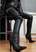 Black matt PU 12cm high heels thigh high boots for plus size women,women boots high heel,size 36,37,38,39,40,41,42,43,44,45,46
