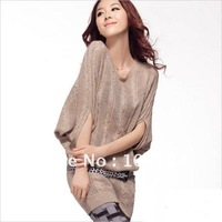 Hot lady hollow twist bat sleeve loose temperament significantly thin sweaters(LU055)