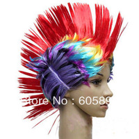 Free shipping-crest shape cap football fan's wigs 1pc/opp party wigs/carnival wigs-high quality
