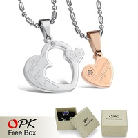 OPK JEWELRY FASHION EUROPE JEWELRY STAINLESS STEEL PENDANTS NECKLACE  Couple  necklace jewelry one pair price HEART CRYSTAL 600