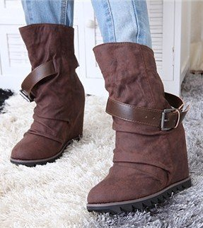 Free Shipping,Buckle Strap Slouchy #337 Hidden Wedge High Heel Mid-calf Boots,US 5-8.5,Womens/Ladies Shoes